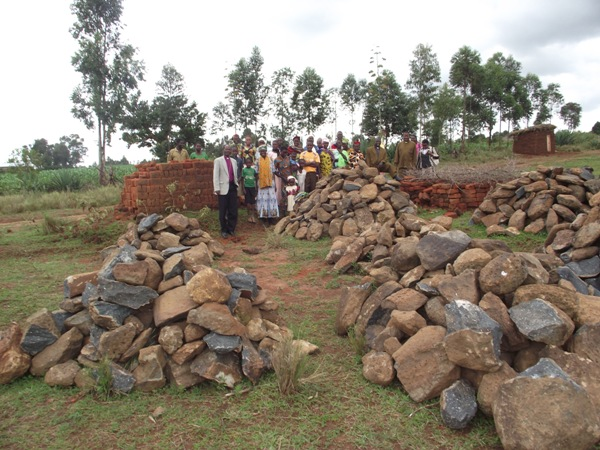 Building material collected by the congregation for building a church at Mangucha Parish
